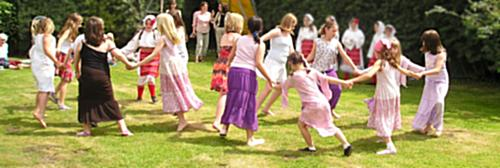 Children dancing traditional english